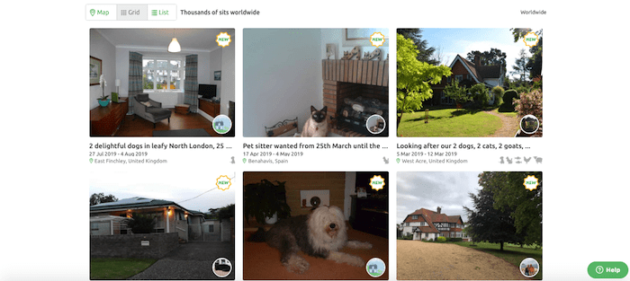 Trusted House Sitters Search - Grid View