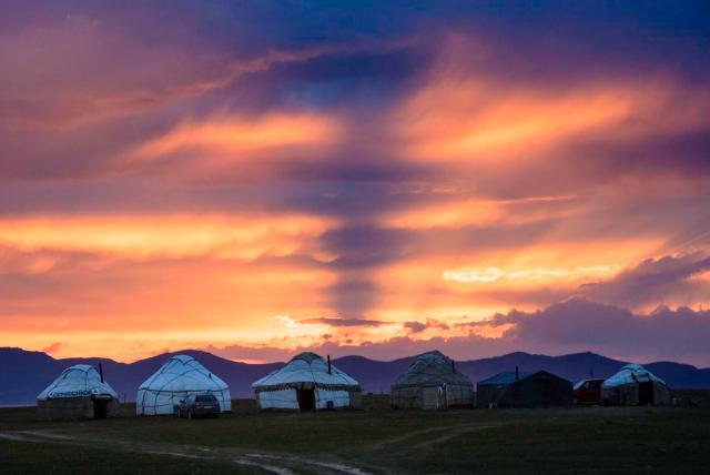 amazing sunset Kyrgyzstan