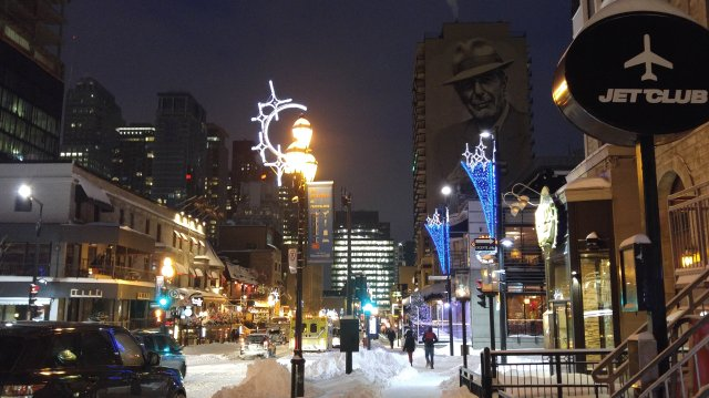 Crescent street, in a popular nightlife district, in Montreal, Quebec, Canada, during winter