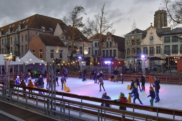 Skaters at an ice rink during winter
