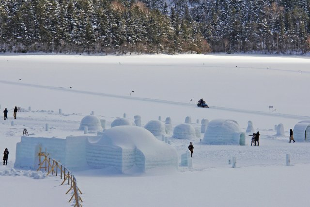 Igloos in the winter