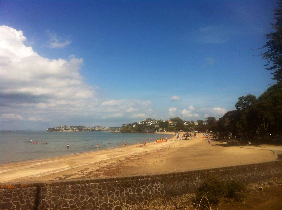View of Mission Bay beach in Auckland