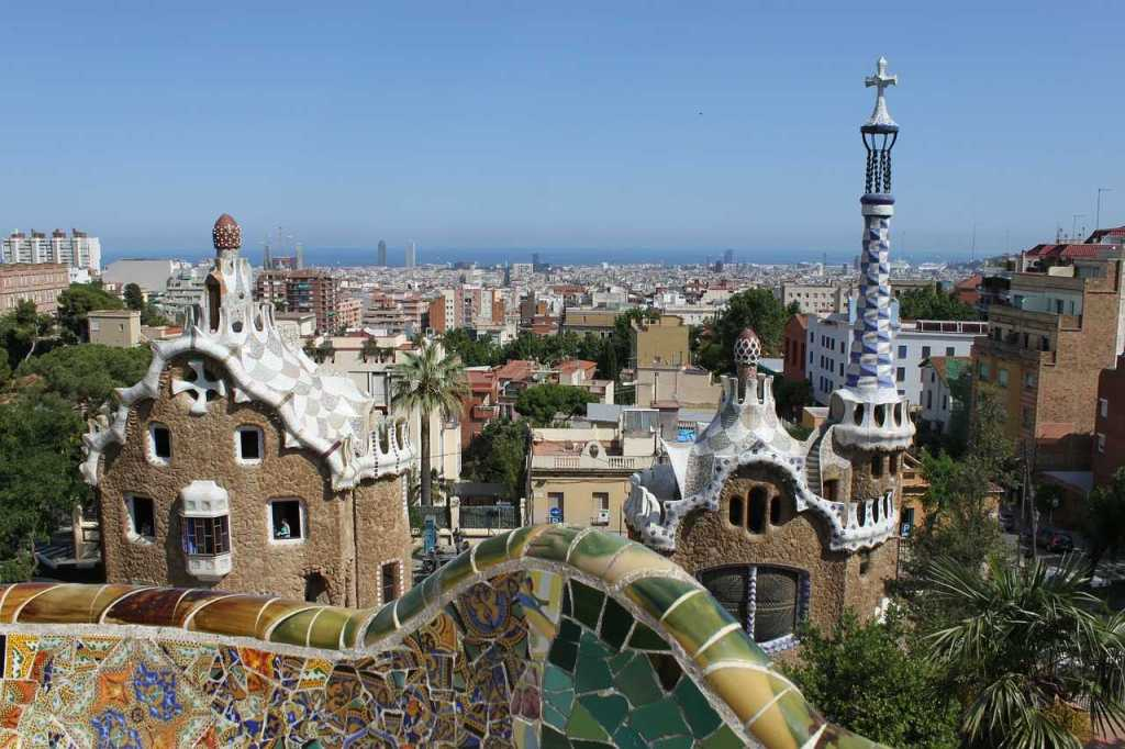 View of Parc Guell and Barcelona