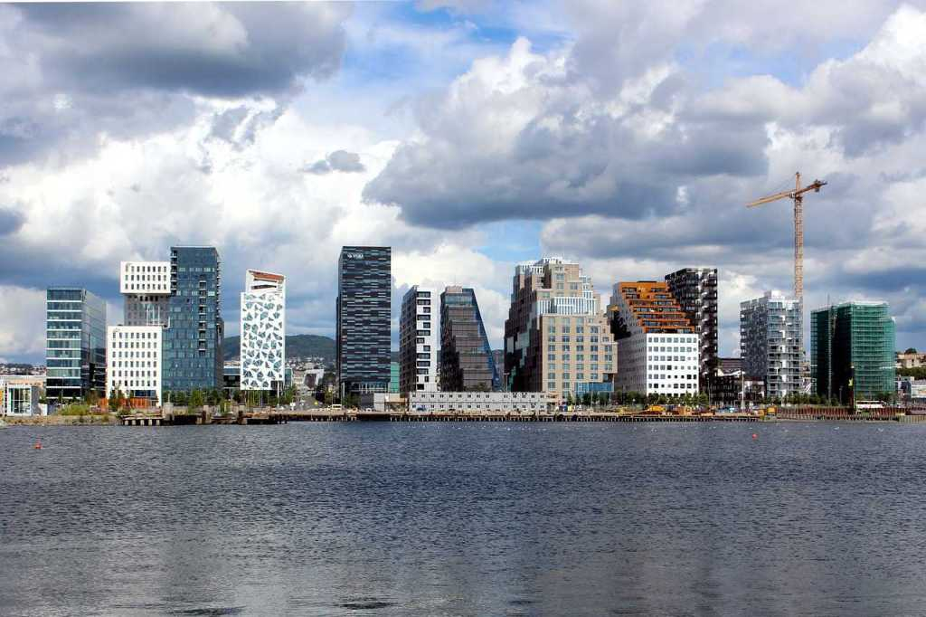 View of Oslo city across the water