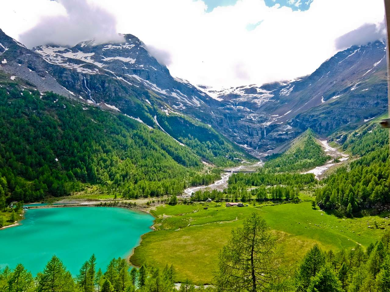 View from Alp Grum  Over the Alps via Gotthard Bernina Circular Tour on the Bernina Express View from Alp Grum
