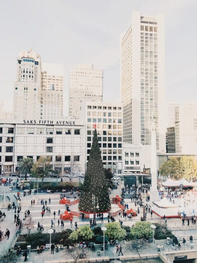 Union Square san francisco, california with christmas tree and skating rink