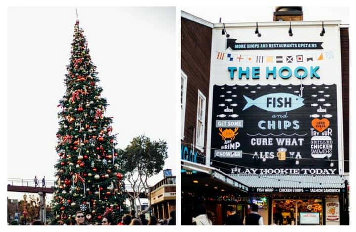 christmas tree and the hook sign at pier 39