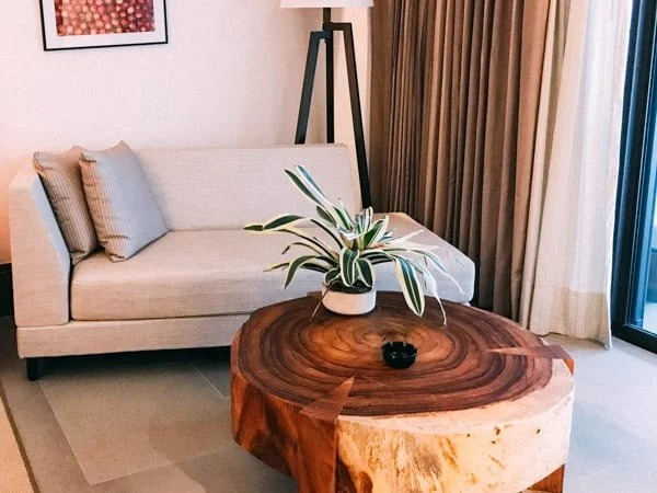 carved wood coffee table and chaise lounge at riviera maya mexico unico 2087