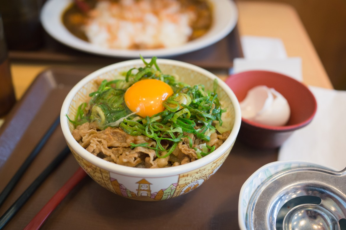 Beef Egg Bowl in Japan