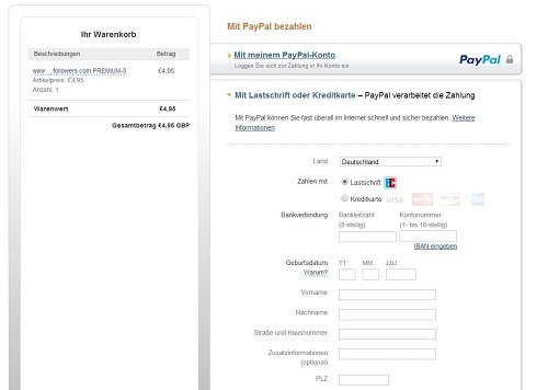 Paypal redirection for premium followers_Germany