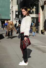 Gala Gonzalez wearing Tommy Hilfiger 30 sweater and clutch