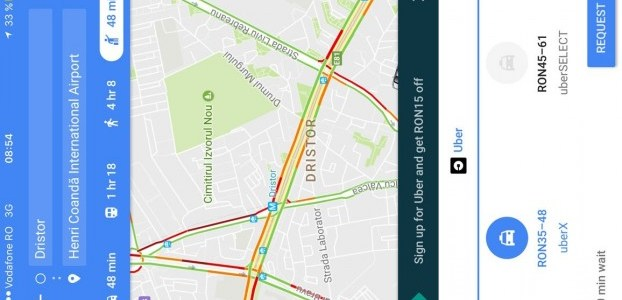 Utilizatorii din România pot acum comanda un Uber direct din Google Maps