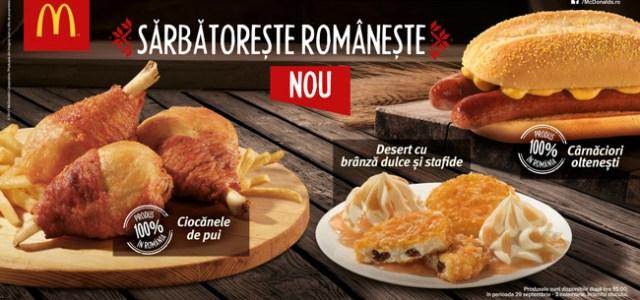 Cârnăciori oltenești, ciocănele de pui și desert cu brânză dulce și stafide la McDonald's