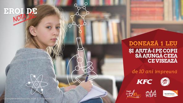 """Peste 500.000 de euro adunați de KFC și Pizza Hut în programul de strângere de fonduri """"Vreau în clasa a noua"""""""