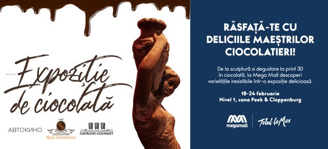 Zeițe grecești sculptate în ciocolată, expuse la Mega Mall!