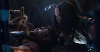 Marvel Studios' AVENGERS: INFINITY WAR..L to R: Rocket (Voiced by Bradley Cooper), Thor (Chris Hemsworth) and Mantis (Pom Klementieff)..Photo: Film Frame..©Marvel Studios 2018
