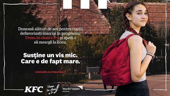 """KFC și Pizza Hut, în parteneriat cu World Vision, susțin programul """"Vreau în clasa a 9-a"""""""
