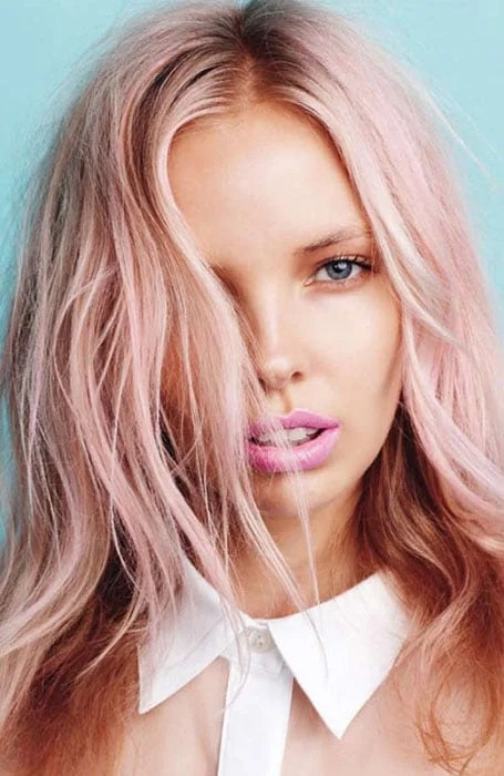 Pastel Pink Hair with Rose Gold Lowlights