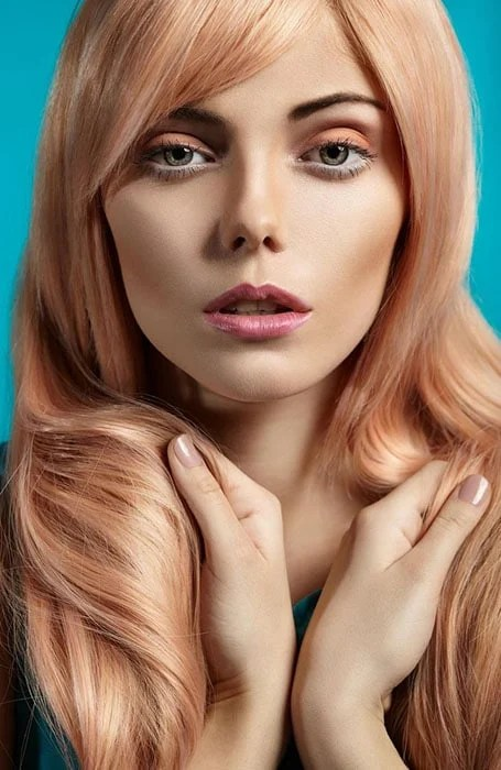 Rose Gold Hair with Platinum Blonde Highlights