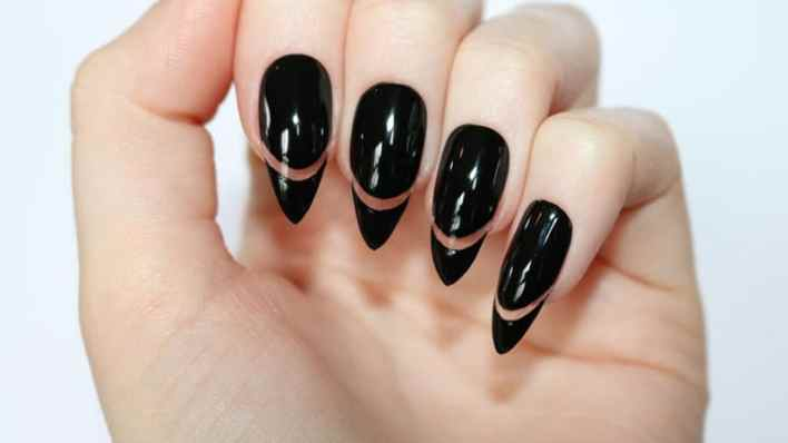 Negative Space Almond Shaped Nails