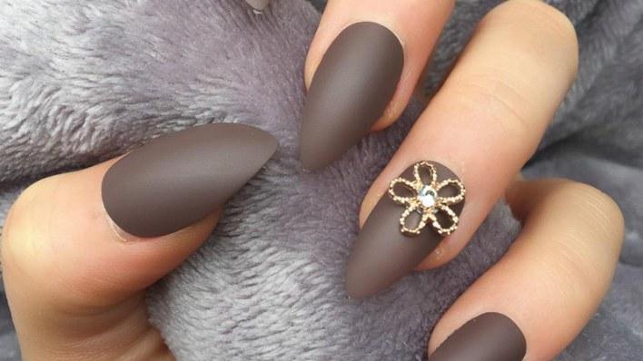 Matte Brown Nails