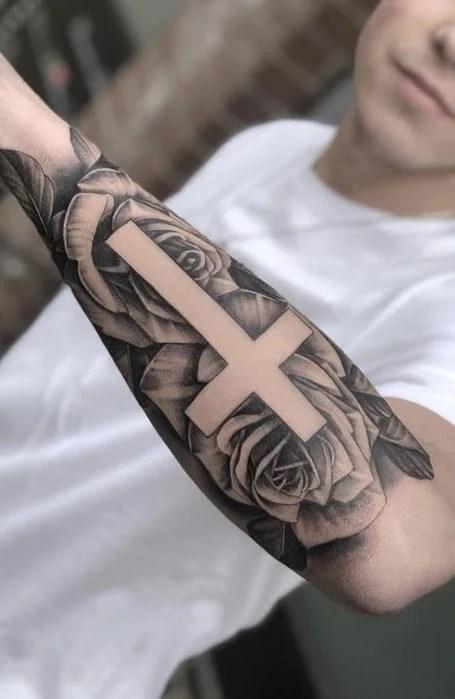 Rose Cross Tattoo