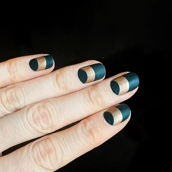 Elegant Green And Gold Nails