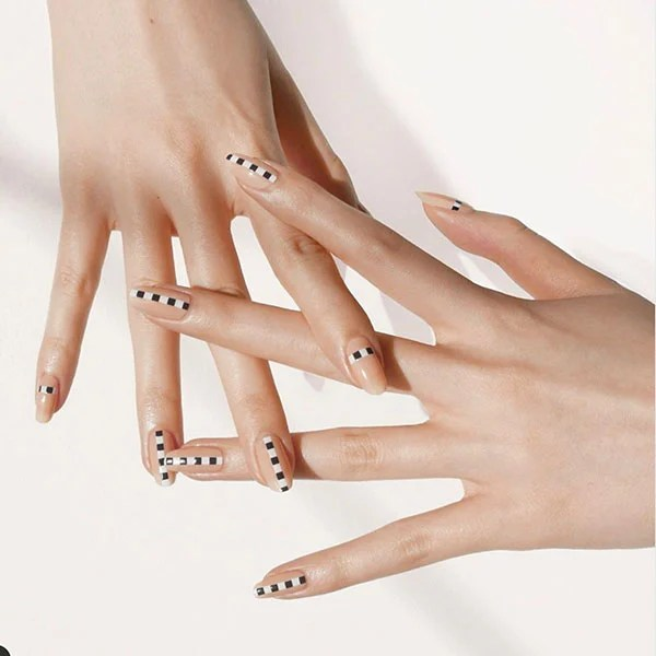Black White And Nude Nail Design