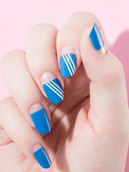 Blue Adidas Inspired Nails