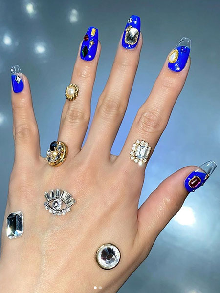 Blue Nails With Jewel Detail