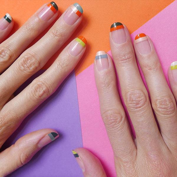 Colored Tips Nail Art