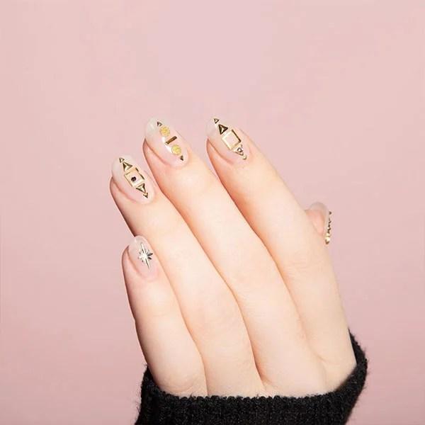 Gold And Natural Nail Art
