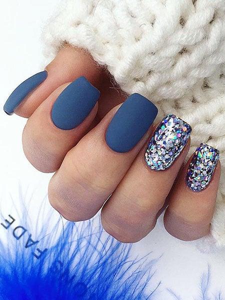 Matt Blue With Feature Glitter Nails