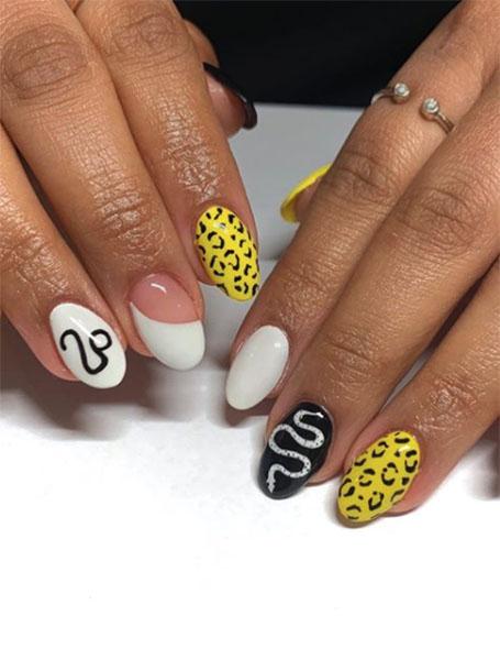 Yellow Pattern Nails