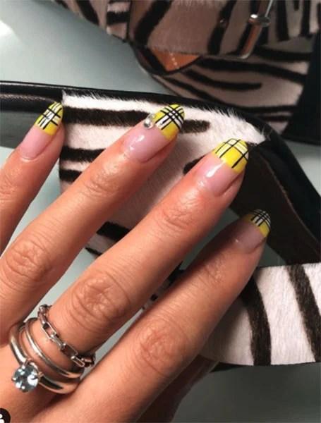 Yellow Tartan Nails