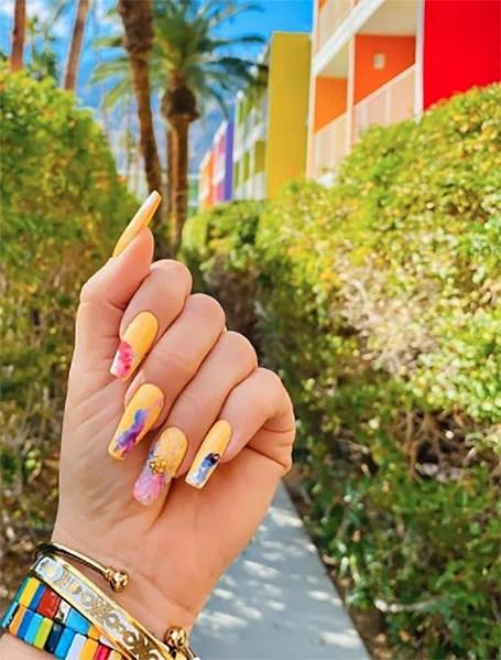 Yellow Watercolor Nails