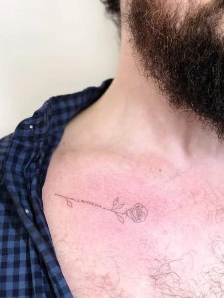 Name Collarbone Tattoo