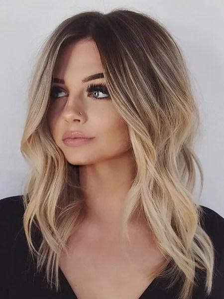 Wavy Medium Length Hair With Highlights