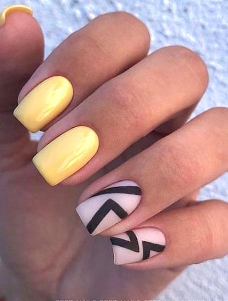 Yellow Abstract Nails