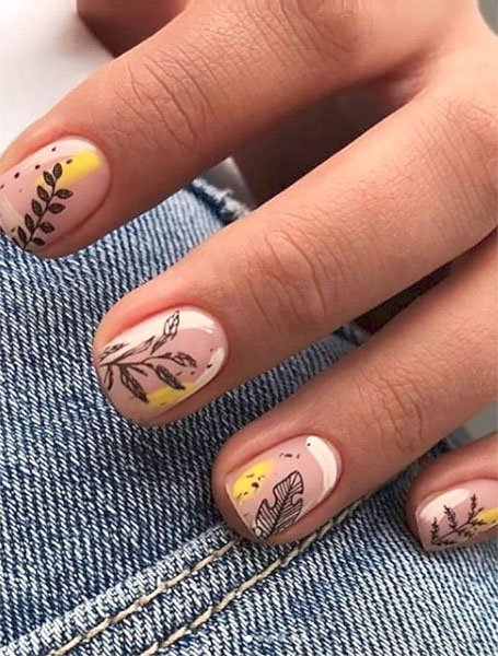 Yellow And Nude Manicure