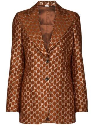 Gucci Gg Motif Single Breasted Blazer