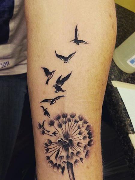Dandelion And Bird Tattoo