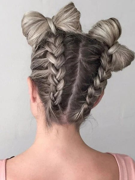 Bow Shape Space Buns With Braids
