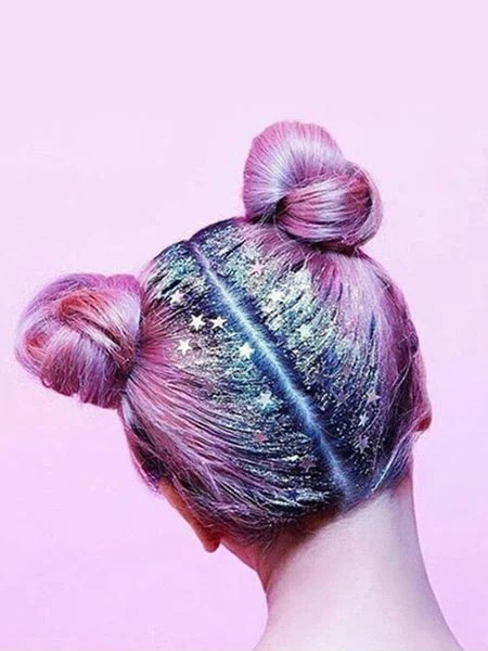 Space Buns With Glitter
