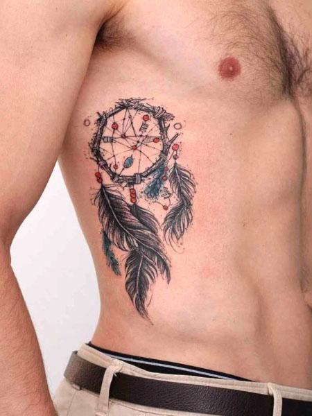 Dream Catcher Rib Tattoo