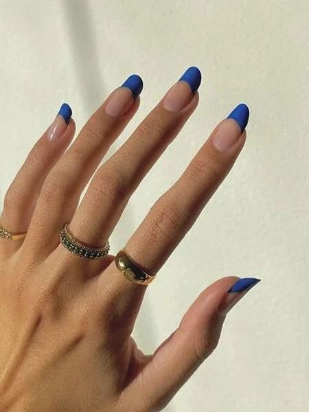 Cobalt Blue French Tip Nails
