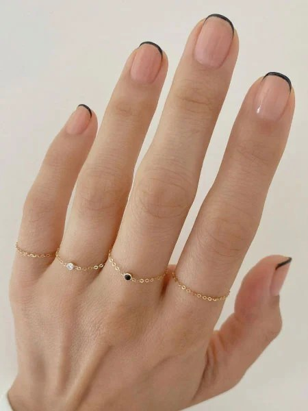 Dainty Black French Tip Nails
