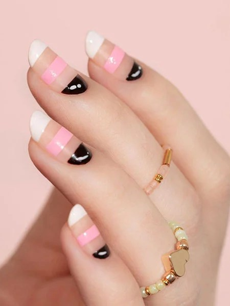 French Manicure With Stripes