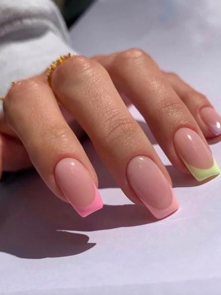 Pastel Shades French Tip Nails