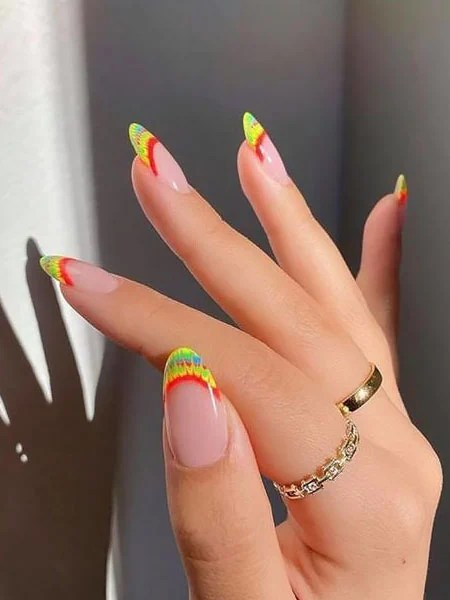 Tie Dye Inspired French Tip Nails